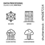 data processing  square mini... | Shutterstock .eps vector #696087214