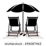 vector deck chairs and flip... | Shutterstock .eps vector #696087463