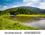 mountain landscape with river... | Shutterstock . vector #696088030