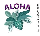 aloha hawaii. leaves of palm... | Shutterstock .eps vector #696092878