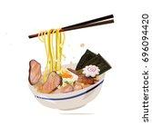 ramen with chopstick served on... | Shutterstock .eps vector #696094420