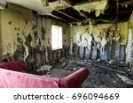 fire damaged interior of a... | Shutterstock . vector #696094669