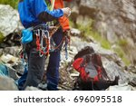 climbing gear  tools and... | Shutterstock . vector #696095518