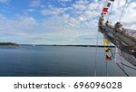 the bow of tall ship on the... | Shutterstock . vector #696096028