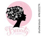 woman beautiful silhouette with ... | Shutterstock .eps vector #696102274