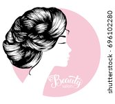 woman beautiful silhouette with ... | Shutterstock .eps vector #696102280