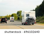 caravans with bicycles on the...