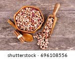Colored Beans In A Wooden Bowl...