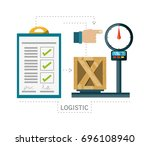 checklist and box over scales... | Shutterstock .eps vector #696108940