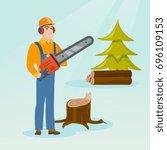 caucasian lumberjack holding...   Shutterstock .eps vector #696109153