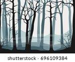 vector seamless misty forest...   Shutterstock .eps vector #696109384
