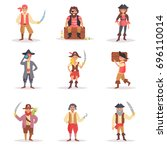 set with the pirates. vector.... | Shutterstock .eps vector #696110014