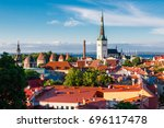 view of the old town of tallinn ... | Shutterstock . vector #696117478