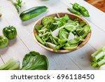 vegetable green salad bowl on...   Shutterstock . vector #696118450