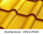 yellow metallic roof with drops ... | Shutterstock . vector #696119434