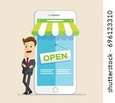 happy businessman stand next to ... | Shutterstock .eps vector #696123310