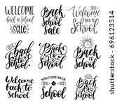 back to school hand lettering... | Shutterstock .eps vector #696123514