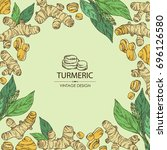 background with turmeric ... | Shutterstock .eps vector #696126580