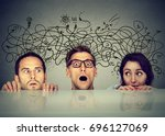 anxious scared people... | Shutterstock . vector #696127069