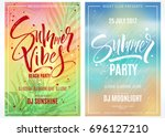 summer party posters. hand... | Shutterstock .eps vector #696127210