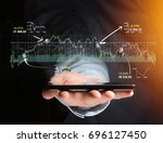 view of a trading forex data... | Shutterstock . vector #696127450