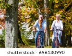 senior couple  man and woman ... | Shutterstock . vector #696130990