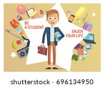 happy smiling student with set... | Shutterstock .eps vector #696134950