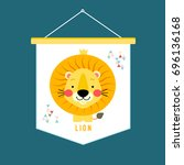 flag with lion. vector... | Shutterstock .eps vector #696136168