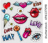 fashion patch badges with lips  ... | Shutterstock .eps vector #696137098