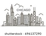 Linear Banner Of  Chicago City...