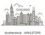 linear banner of  chicago city. ... | Shutterstock .eps vector #696137290