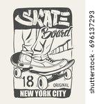 skate board typography  t shirt ... | Shutterstock .eps vector #696137293