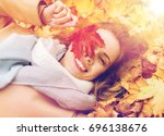 season and people concept  ... | Shutterstock . vector #696138676