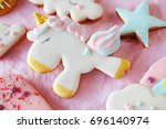 gingerbread cookies covered... | Shutterstock . vector #696140974