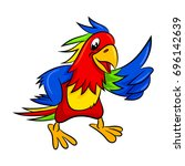 cute cartoon parrot. ... | Shutterstock . vector #696142639