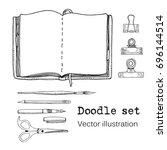 vector set of sketch notebooks  ... | Shutterstock .eps vector #696144514