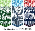 set of vector travel flayer... | Shutterstock .eps vector #696151210
