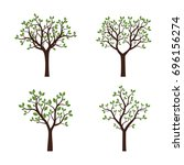 set trees with green leaves.... | Shutterstock .eps vector #696156274