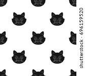 raccoon muzzle icon in black... | Shutterstock . vector #696159520