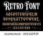 vector retro alphabet. vintage... | Shutterstock .eps vector #696160939
