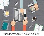 concept of business meeting.... | Shutterstock .eps vector #696165574
