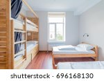 Hostel dormitory beds arranged...