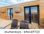 terrace cafe on top floor | Shutterstock . vector #696169723