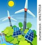 green energy. solar panels ...   Shutterstock .eps vector #696170518