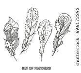 feathers. design zentangle.... | Shutterstock .eps vector #696172393