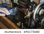close up hand and sewing... | Shutterstock . vector #696173680
