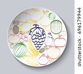 decorative plate with painted... | Shutterstock .eps vector #696179944
