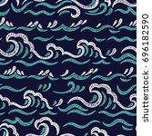 sea waves vector seamless...   Shutterstock .eps vector #696182590