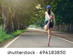 young healthy fitness woman... | Shutterstock . vector #696183850