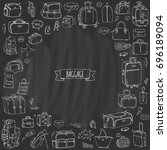 hand drawn doodle baggage icons ... | Shutterstock .eps vector #696189094